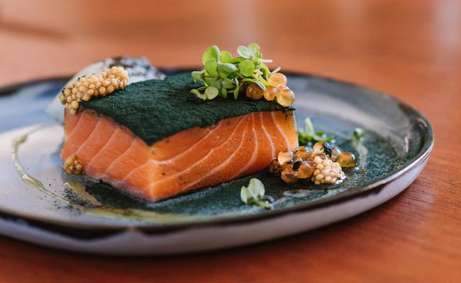 Saumon_gravlax_spiruline_Moutarde__restaurant_bec_paradou_alpilles_gastronomie